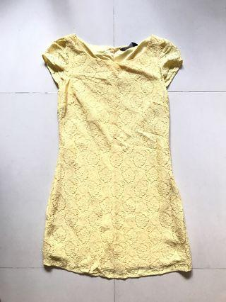 Dorothy Perkins Yellow Floral Lace Dress