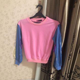 Pink denim ripped sweater