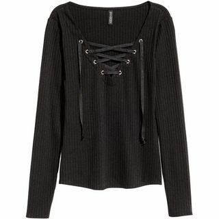 H&M black ribbed lace up top