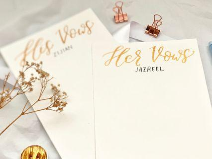 Calligraphy vow card set