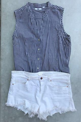 UNIQLO Blue Gingham Checkered Short Sleeve Top