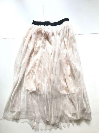 Beige Tulle Tutu Midi Skirt