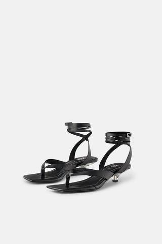 Zara leather sandals with methacrylate