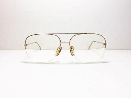 🚚 義大利製 1970s DESIL flight 義大利品牌 金色飛行員眼鏡架 半框設計 鍍金 14KGF 純老品 男女皆宜, Italian eyewear brand, made in Italy, authentic 1960-1970s vintage aviator frame.