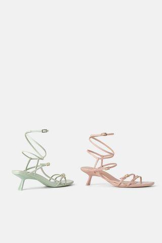 Zara strappy mid heels shoes (pink and green soft)
