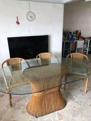Rattan chair table glass