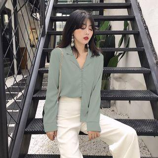 (INSTOCKS/PO) SILK GREEN BUTTON UP TOP