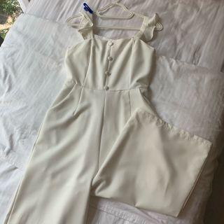 white fluttered top jumpsuit