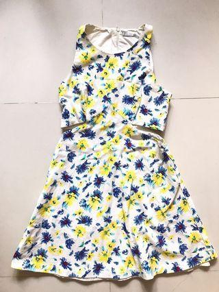 Zara Trafaluc Floral Cut Out sleevelss Dress