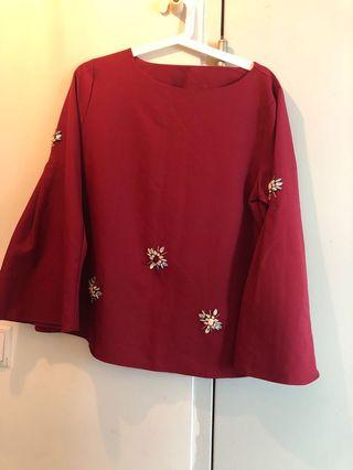 Bell Sleeve TOP red