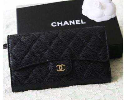 Chanel caviar long wallet black ghw