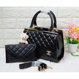 Tas Chanel wanita free pouch dan boneka