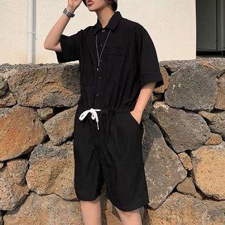 🚚 Ulzzang indie plain berms jumpsuit