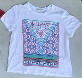 ZARA Aztec Graphic T Shirt White