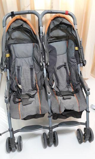 Combi twin stroller lightweight with carry strap