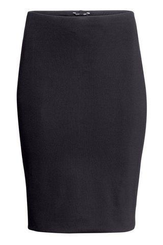 H&M black jersey pencil skirt