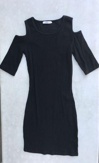 MANGO Cold Shoulder Ribbed Tight Dress Black