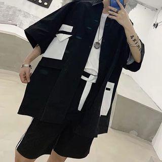 🚚 Ulzzang geometric oversize shirt+berms set