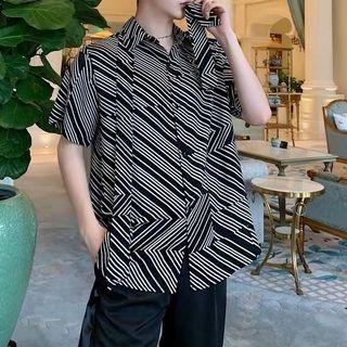 Ulzzang indie Geo cave lines oversize shirt