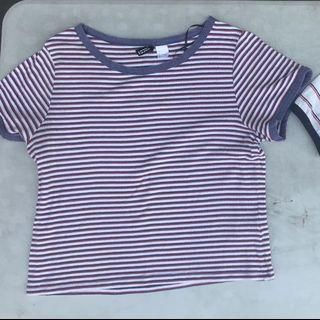 H&M Striped Ringer Shirt Violet