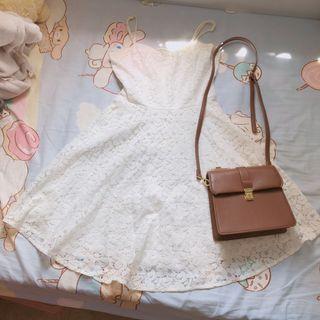 斯文裙可愛裙女神裙蕾絲裙小白裙
