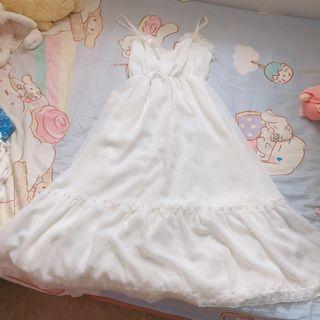 White Dress 斯文裙可愛裙女神裙蕾絲裙小白裙睡裙