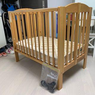 Baby Cot -foldable, with mattress & wheels
