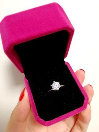 一克拉莫桑鑽石戒指 13#