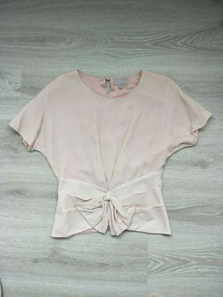 設計師精品MOISELLE粉色蠶絲罩衫