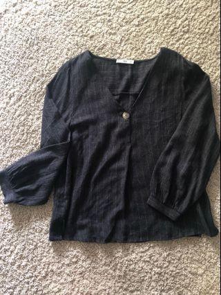 🚚 Mango V neck, pinstripe shirt.