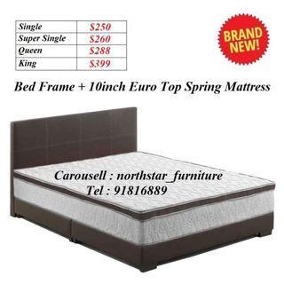 Bed Frame + Spring Mattress