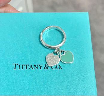 Tiffany and Co Silver and Blue Enamel Heart Tag Ring
