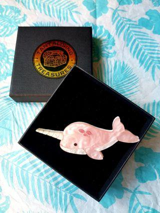 🇦🇺BNIB🇦🇺 NIKKI the Pink NARWHAL - Limited Edition Brooch