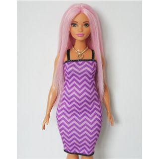 Barbie Curvy Pink Hair Purple Dress