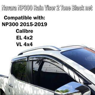 Nissan Navara NP300 2015-2018 Rain Sun Visor Aero Max Titanium Series 2 Tone Black Net