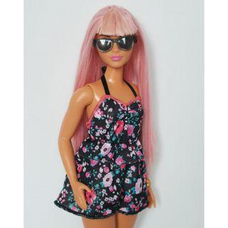 Barbie Curvy Pink Hair Floral Romper