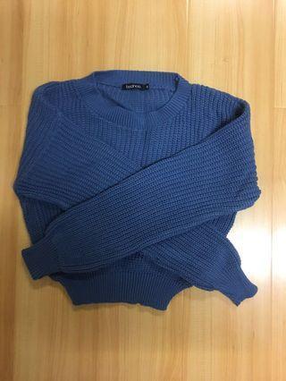Boohoo blue knitted crop jumper