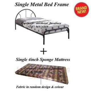 Single Metal Bed + Mattress