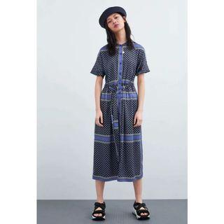 🚚 (BN) 💯 Authentic Zara Navy Blue Printed Midi Dress