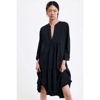 (BN) 💯 Authentic Zara Black Long Poplin Dress