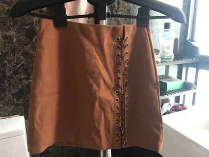Brown laced up skirt