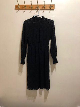 韓貨 黑色蕾絲洋裝