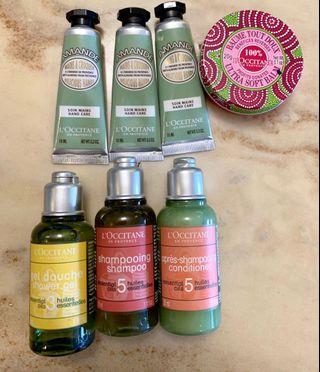 L'OCCITANE hand cream, lip balm and shampoo, conditioner, shower gel travel set