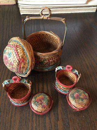 Miniature hand painted Teo Chew baskets x 3 a set
