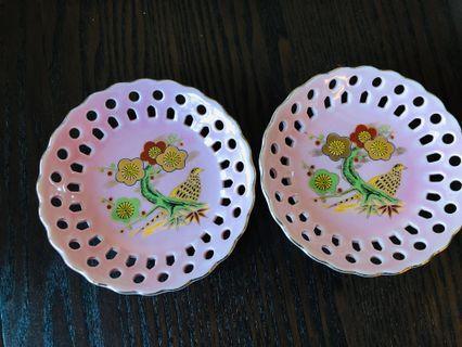 Vintage plates for sweet candy made in Japan birds Sakura