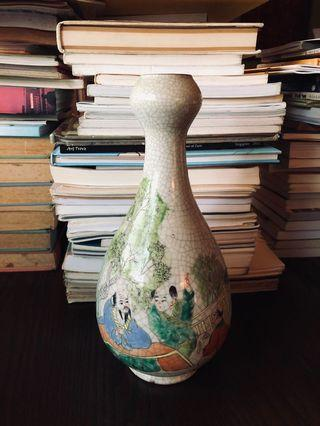 Reproduction vintage vase hand painted crackle effect