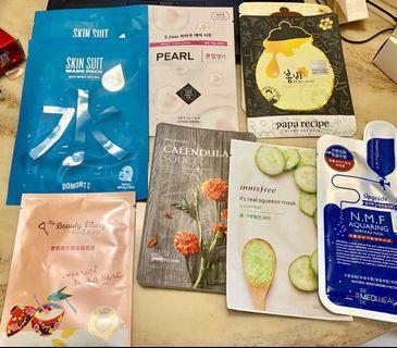 Facial Masks (papa recipe, media heal, innisfree, face shop, etude house, domont, my beauty diary)