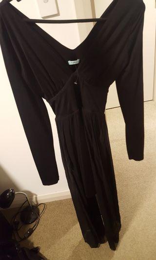 Long sleeve black dress with mesh