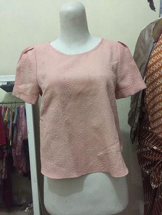 Pink semi crop top blouse - baju kerja - formal