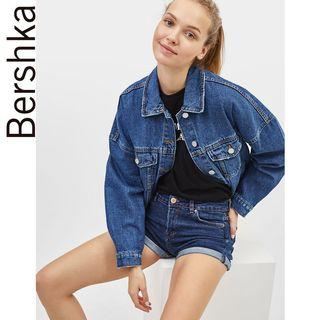 BERSHKA DARK BLUE DENIM SHORTS